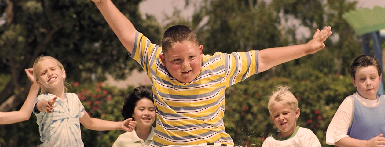 Boy in a race at a fat camp for kids