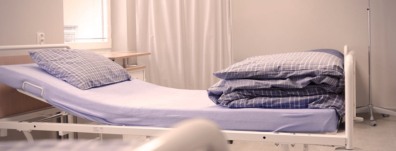 Hospital bed at a detox center for drug addicts