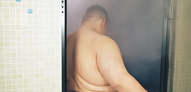 Man at luxurious spa for weight loss camp