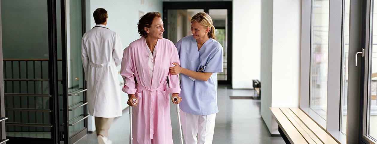 Woman using stroke rehab centers