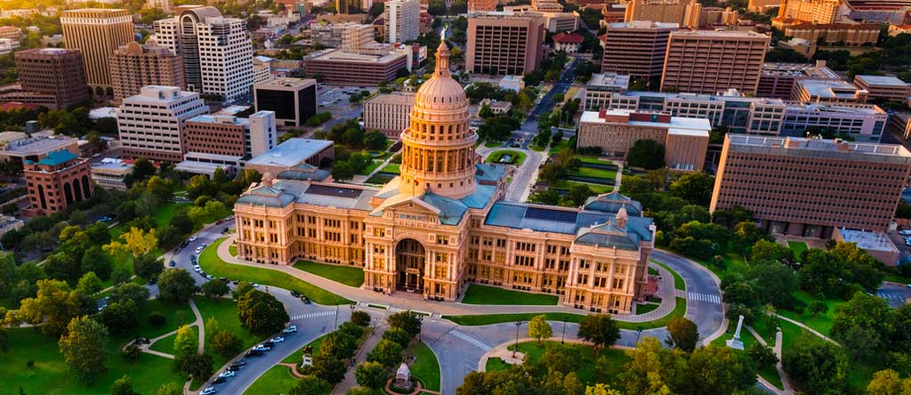austin, state capital building, arial view, birds eye view