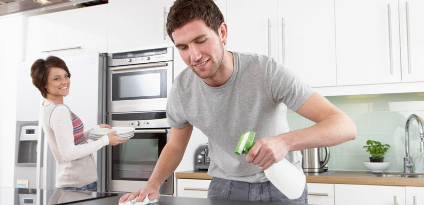 Couple doing chores after premarriage-counseling questions