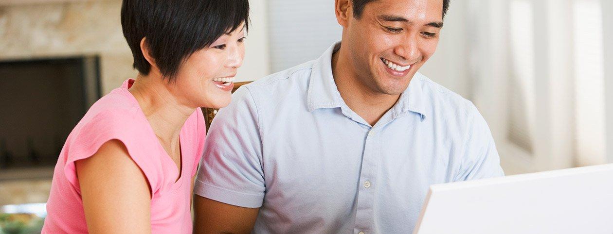 Married couple seeking marriage advice tips online