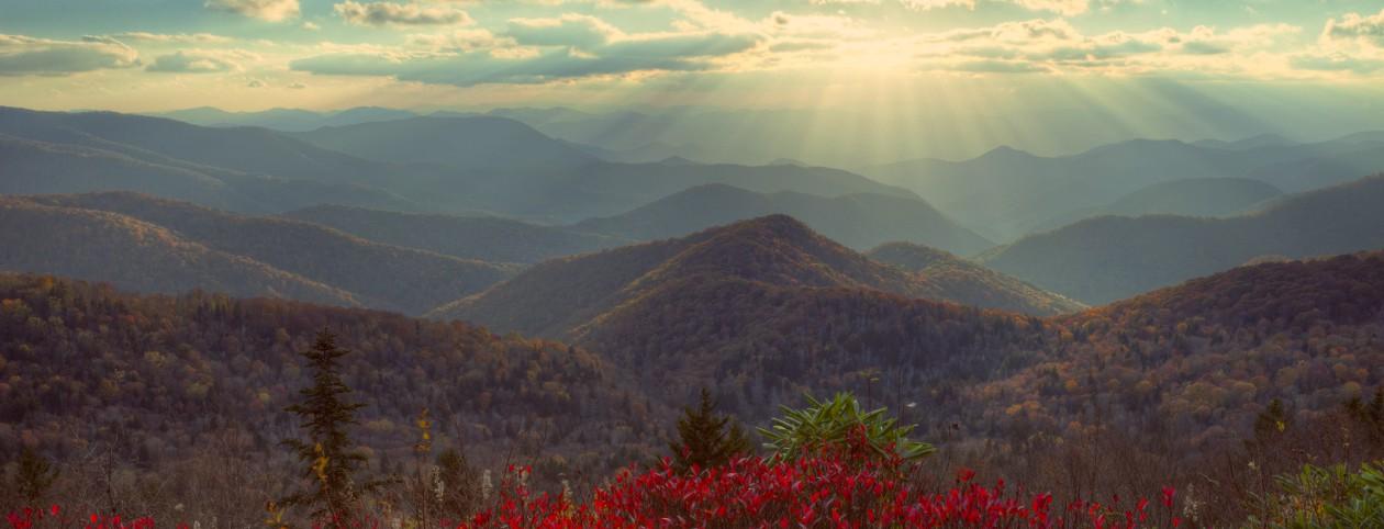 Sunset at Blue Ridge Parkway in Virginia, at autumn.