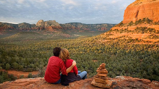 Couple sitting while attending Sedona Soul Retreats