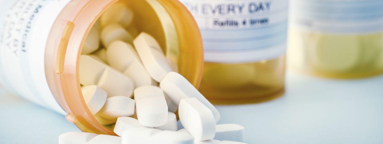 Bottle of opioid drugs being abused