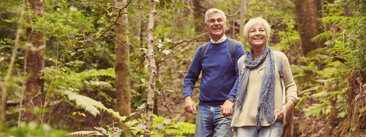 Senior couple staying active, boosting mental health
